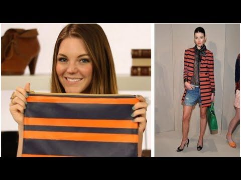 Bold, brilliant stripes graced the runways at Marc by Marc Jacobs, Proenza Schouler, and J.Crew, which inspired us to create a fun DIY around this playful print! Today, we're showing you how to make a vibrant striped clutch that is easy to make and stylish to wear. All you need is a clutch, spray paint, and masking tape — simple, right?