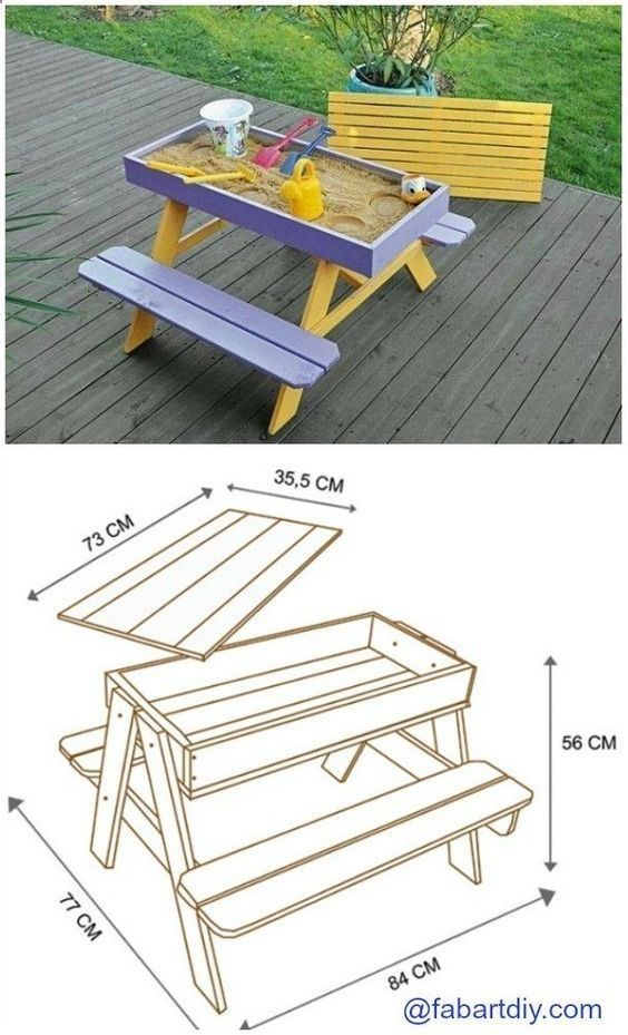 collection of 1600 woodworking plans diy sandbox picnic table plan rh pinterest com