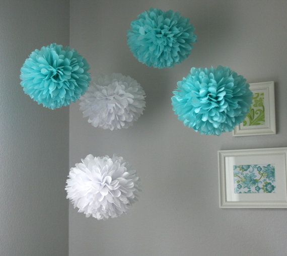 Aqua & White tissue poms by PartyPoms on Etsy