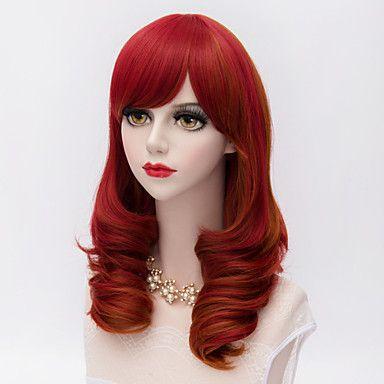 muoti keskipitkän pitkät kinky kiharat hiukset puoli bang punaisella synteettinen harajuku lolita puolue peruukki 4156508 2017 – hintaan €11.71