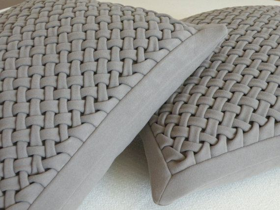 Textured Woolen Pillow Cover Canadian Smocking by Touchoftexture