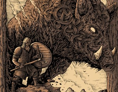 "Check out new work on my @Behance portfolio: ""Wild Spirit"" http://be.net/gallery/59599529/Wild-Spirit  Vikings, norse mythology, boar, warrior, wild spirit, ink drawing, tshirt design"