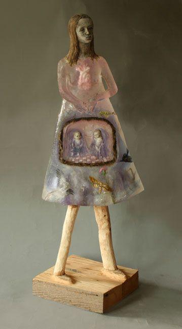 """Nest"" by Christina Bothwell - cast glass, raku clay, oil paint, 43 x 18 x 11 inches"