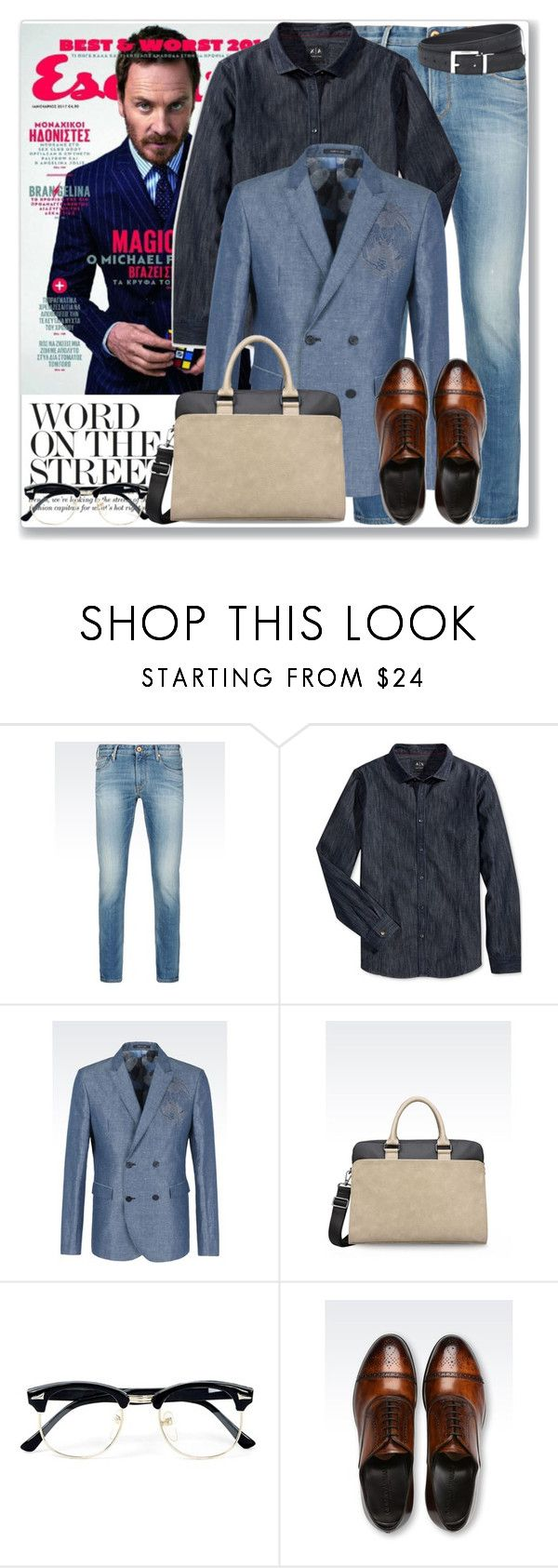 """""""Man of Style: Michael Fassbender"""" by coraline-marie ❤ liked on Polyvore featuring Armani Jeans, Armani Exchange, Emporio Armani, Topman, men's fashion and menswear"""