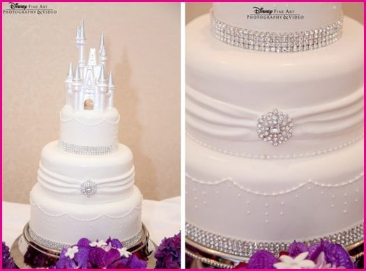Dreamy all white and blinged out Disney Wedding Cake! Simple and elegant.