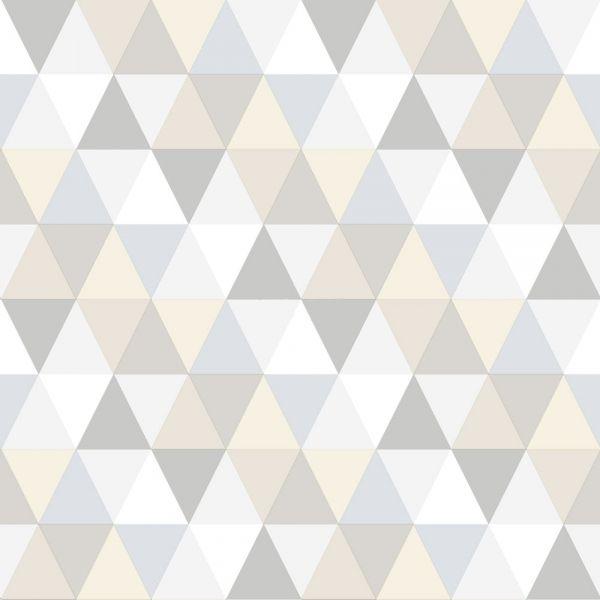 Tapet med geometriskt mönster i beige och grått från kollektionen Everybody Bonjour 138707. Klicka för att se fler inspirerande tapeter för ditt hem!