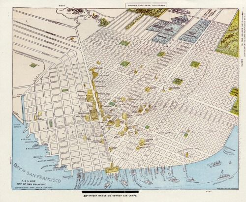 bobster855:  This map of San Francisco in 1896 has amazing detail of the pre-earthquake city. See those blue rectangles near the top? Those are cemeteries, but don't try to find them today - they were all dug up when city leaders decided that land was too valuable for dead people. The bodies were removed to the city of Colma to the south of San Francisco.