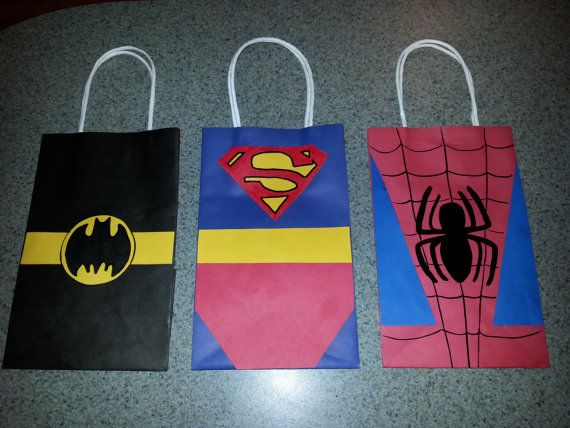 Superhero Party Favor Gift Bags Batman by PartyRockinEvents, $3.00