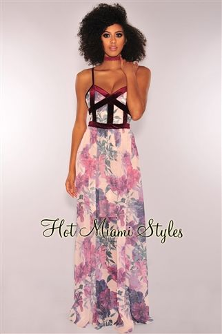 5975355240cd7 Exquisitely designed to make an entrance, our gorgeous cream lavender  floral wine faux bustier maxi dress is one of a kind.