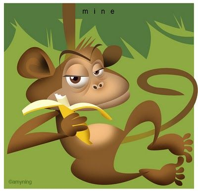 Monkey with Banana. Illustration by Amy Ning, represented by Liz Sanders Agency. lizsanders.com
