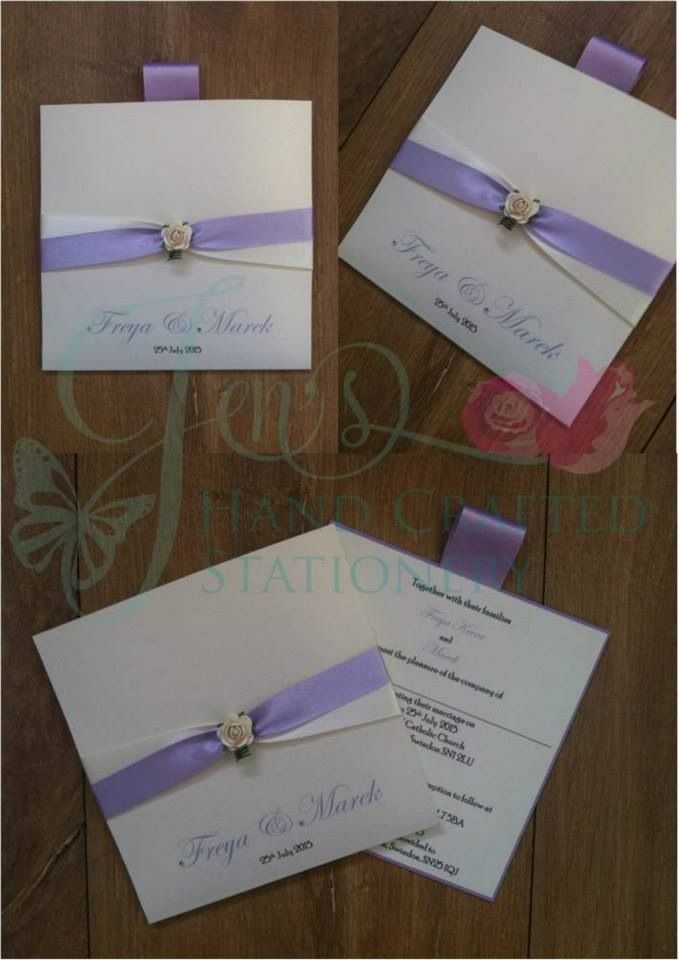 wedding invitation diy kits uk%0A Lilac and ivory two tone wallet wedding invitation with mulberry rose  www jenshandcraftedstationery co