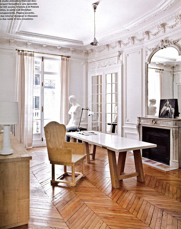 Gilles & Boissier - Paris home studio space - restored parquet floor, 19th-century mirror, Gilles-designed table