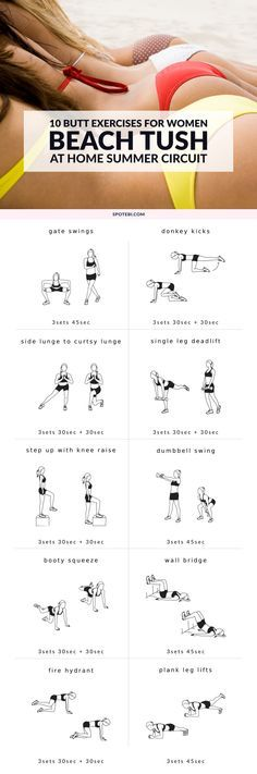 Hit muscles you never knew you had and build a firm, perky tush with these 10 butt exercises for women. Repeat this series three times to lift, tone and tighten your backside just in time for summer! http://www.spotebi.com/workout-routines/10-butt-exercises-beach-ready-tush/