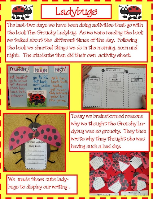 Grouchy Ladybug Activities- this site has great ideas for other centers and thematic units