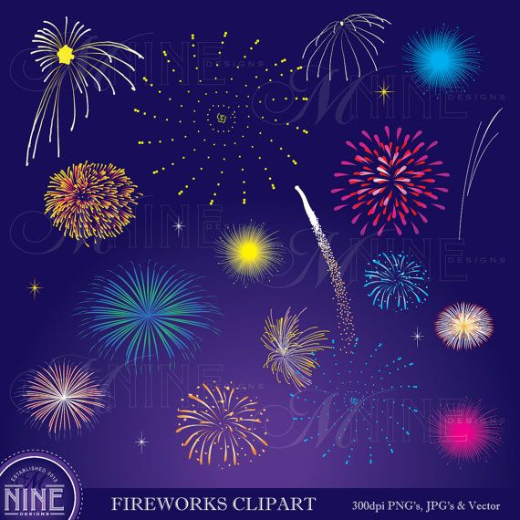 FIREWORKS Clipart Digital Clip Art, Instant Download, New Years Eve 4th of July Vector Art Icons Graphics