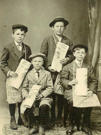 Post Boys pose for a photo in 1910