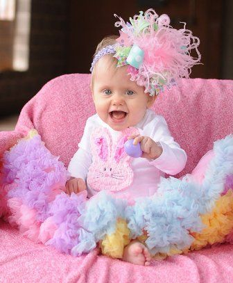 Easter Spring Pastel Dots Over the Top Hair Bow Headband Onesie and Pettiskirt Infant Outfit