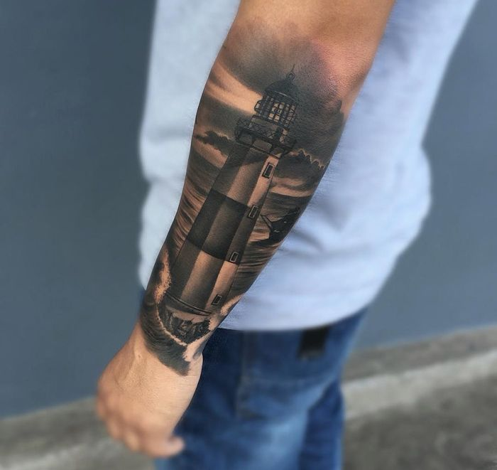 Realism Lighthouse Guys Forearm | Best tattoo ideas
