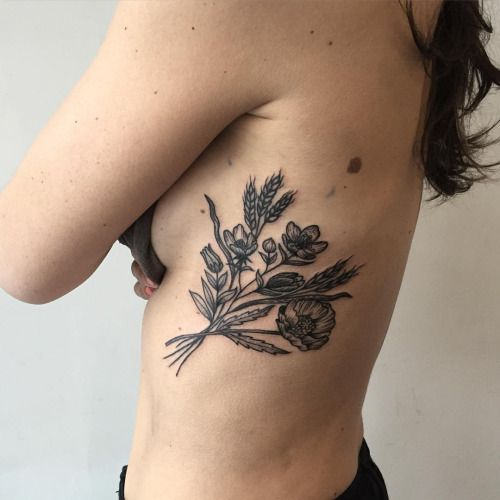wheat and flower tattoo - Google Search