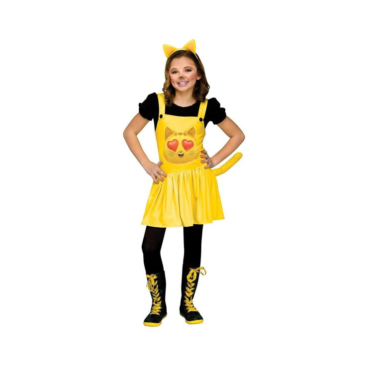 Halloween Fun World Kids' The Emoji Movie Cat with Heart Eyes Costume S, Girl's, Multi-Colored
