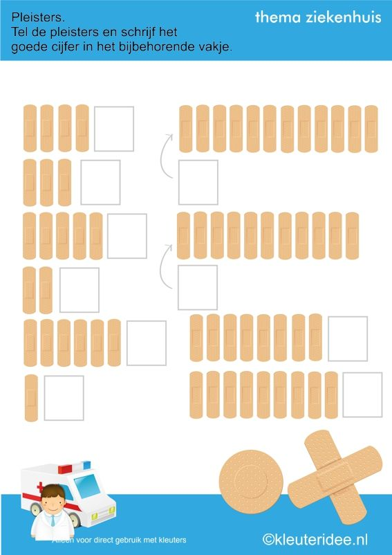 Pleisters tellen met kleuters, thema ziekenhuis, kleuteridee.nl , juf Petra, free printable.