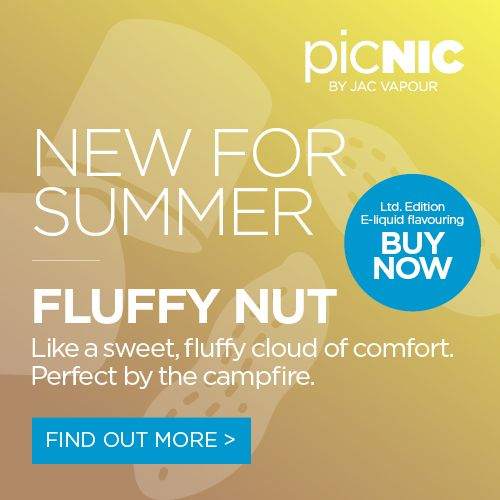 Fluffy Nut is a sweet, fluffy cloud of comfort. Perfect around the campfire. Our picNIC Easy Mix DIY E-liquid starter kits contain everything you'll need to get started - a bottle of base liquid, 2x flavour concentrates and mixing supplies. #eliquid #eliquids #diy #adv #ecig #ecigs #vaping #vape #picnic #jacvapour