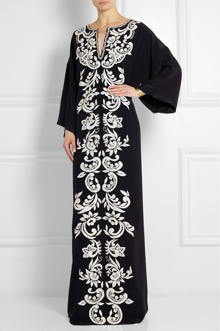 Oscar de la Renta|Embroidered matte-silk maxi kaftan|NET-A-PORTER.COM
