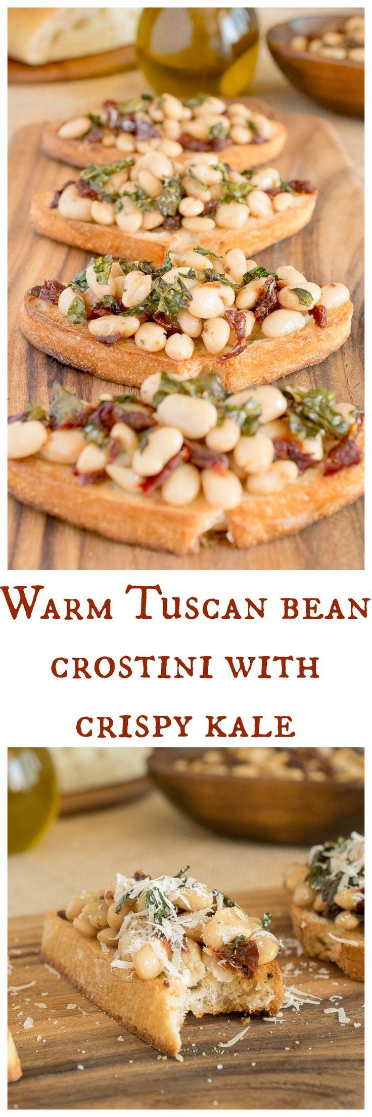 Warm tuscan bean crostini with crispy kale-longpin