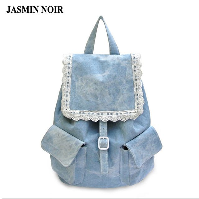 Mochila feminina senhoras bolsa 2016 nova bolsa de ombro de alta qualidade saco de tecido rendas de algodão denim calças de brim das mulheres mochilas saco mochila