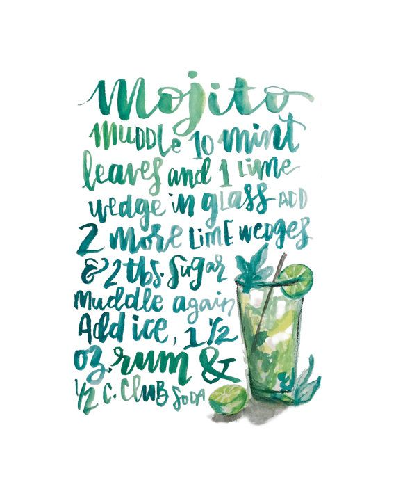 Even the name sounds like you are about to have a good time...Mo-ji-to! Spice up your living area with this fun, hand-lettered and illustrated cocktail recipe. This frame-ready digital download is made from an original watercolor illustration. Original piece was done with watercolor