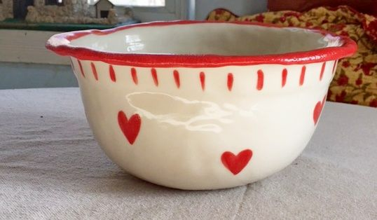 Large Rustic Mixing Bowl with Hearts and Inscriptioon