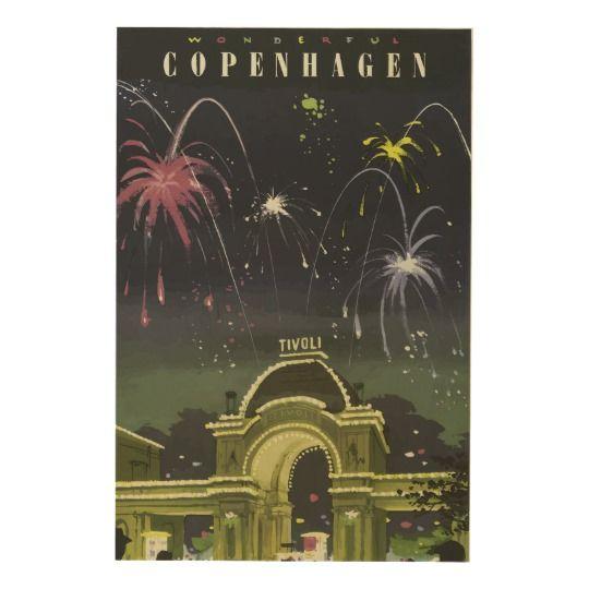 Vintage Copenhagen Travel Poster Reproduction on Wood