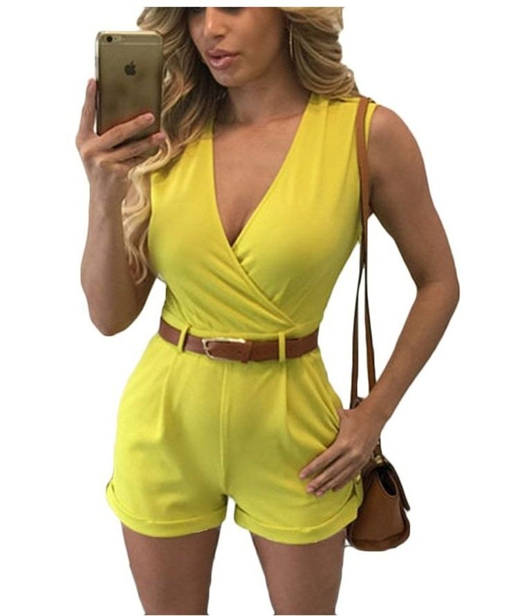 Women Summer Jumpsuit Shorts 2016 New Fashion Deep V-neck High Waist Playsuits with Belt Summer Solid Sleeveless Slim Rompers