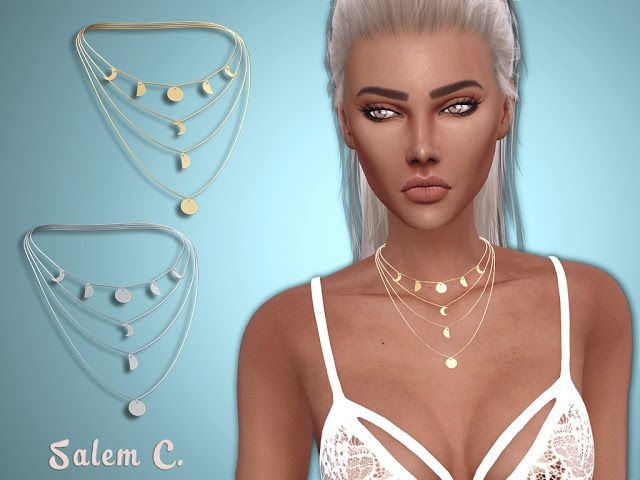 Sims 4 CC's – The Best: Multi Row Necklace by SalemC
