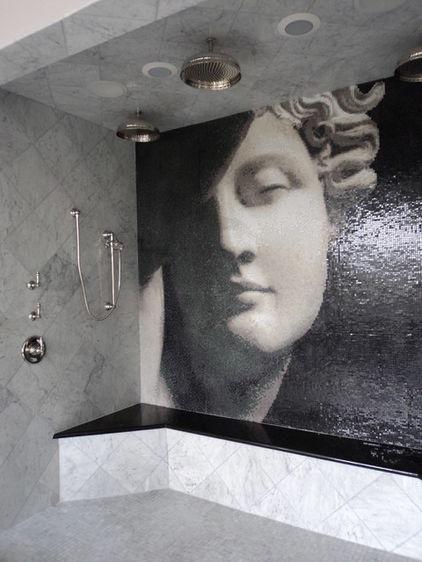 Sheer coolery. Stone habitat.Shower Bathroom, Stones Habitat, Tile Design, Tile Art, Contemporary Bathrooms, Bathroom Ideas, Mosaic Tiles, Mosaics Tile, Tile Mosaics