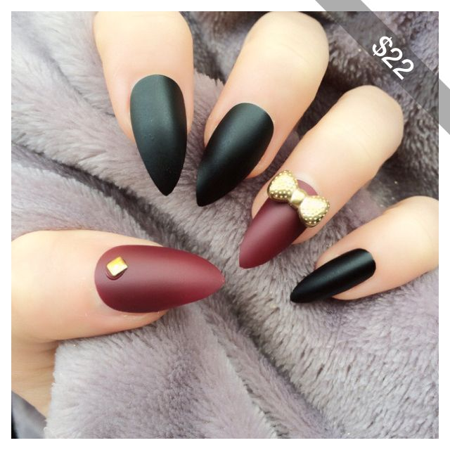 Doobys Stiletto Nails Matte Black Accent Deep Red Matte 24 Hand Painted Nude Red Nails 3D