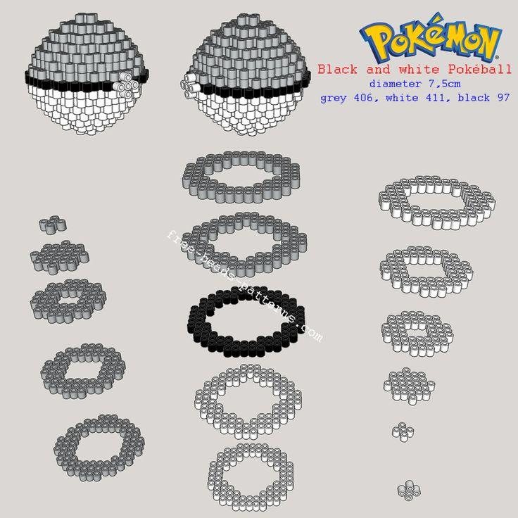 Black and white Pokemon Pokeball 3D perler beads pattern