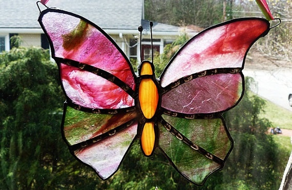 Lovely Pink and Green Stained Glass Butterfly by miloglass on Etsy, $15.00