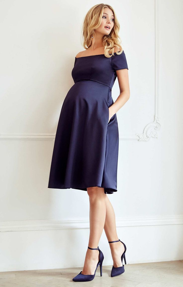 1aa623588518 The ultimate occasion dress for maternity glamour – Aria is simply  breathtaking in our rich new navy satinesque fabric. Channelling starlet  beauty with a ...