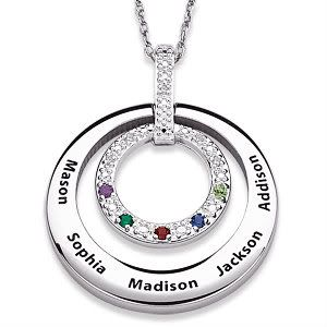 137 best mothers necklace with kids names images on pinterest birthstone and diamond necklace with names silver or gold mozeypictures Choice Image