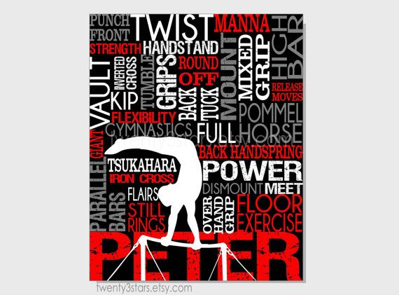 Mens Gymnastics Typography Print, 8x10 Art, Perfect for Boys Room Art, You Choose the Colors, Makes a Great Gift for any Gymnast show in black, white, grey and red