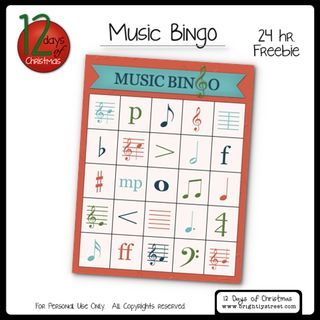 Music Bingo for your kids!  Free download until midnight tonight!