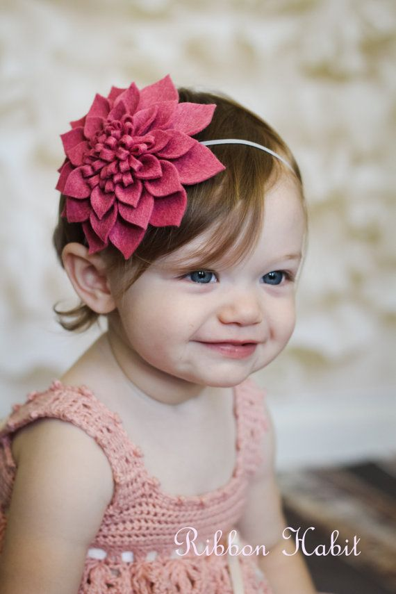 Big Felt Flower Headband for Girls in Pink, Rose, Cream or Red Dahlia- Fall Hair Accessory Teens, Toddlers, Babies- Photo Prop Autumn Winter