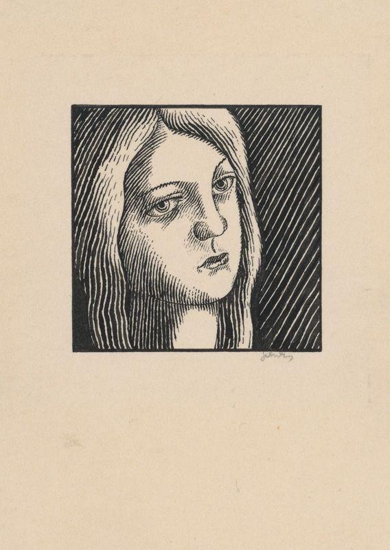 Mikuláš Galanda – Hlava zamyslenej ženy s dlhými vlasmi, okolo 1925, tuš/pero