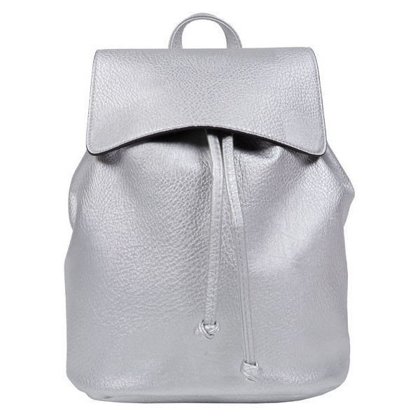 Silver Backpack ($29) ❤ liked on Polyvore featuring bags, backpacks, backpack, rucksack bag, silver bag, silver backpack, knapsack bags and backpack bag