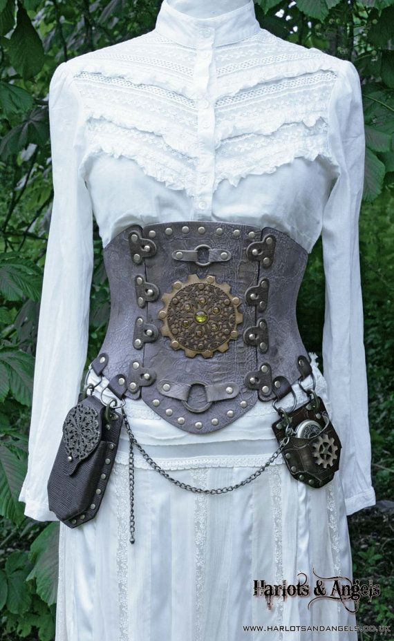 """27"""" - 29"""" waist New Steampunk / Pirate / Larp  Real Leather Corset Utility belt. on Etsy, $155.00"""