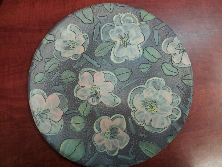 12 inch ceramic plate, handpainted with underglazes.