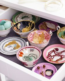 Stylish Jewelry Storage - Martha Stewart Organizing --Use all the odd cups or bowls to sort out jewelry.  Seems like a really cool idea.: Organizations Jewelry, Jewelry Storage, Teas Cups, Drawers, Tea Cups, Jewelry Drawer, Teacups, Storage Ideas, Jewelry Organizations