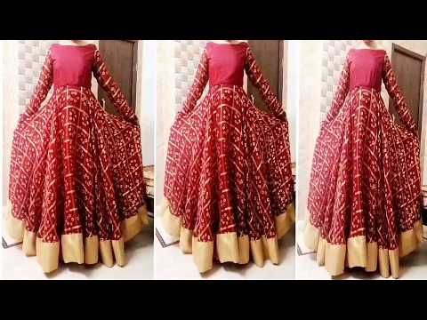 Cut   Sew Circular Umbrella Frock   Anarkali lehnga   maxi cut frock Dress  Pattern Cutting Stitching - YouTube 35815f948
