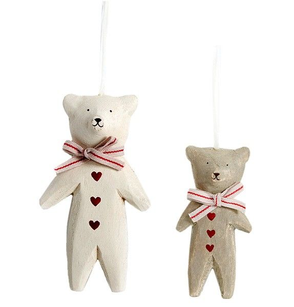 DEUX ORNEMENTS OURS TEDDY BOIS MAILEG